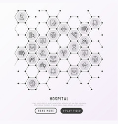 Hospital concept in honeycombs with thin line icon vector