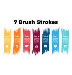 Infographics for 7 steps options color brush vector