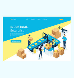isometric landing page workflow warehouses vector image