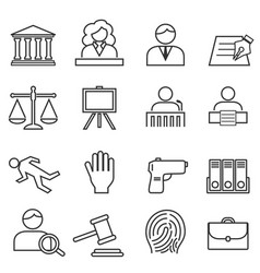 justice law legal icon set vector image