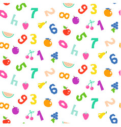 Kid numbers and fruits bright seamless vector