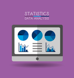 laptop financial information with statistics data vector image
