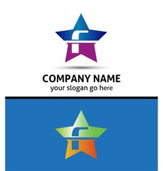 Letter F logo with star icon vector image