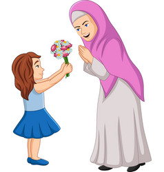 little girl giving a bunch flowers to her mothe vector image