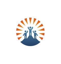 Logo leader standing on top mountain vector