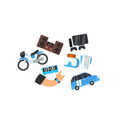 male hand and his electronic gadgets devices vector image