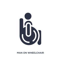 Man on wheelchair icon on white background simple vector