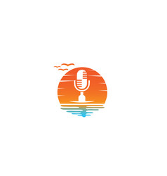 Microphone and speakerphone for logo design in a vector