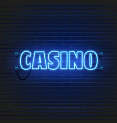neon lamp casino banner on wall background las vector image