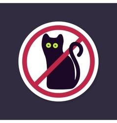 No Ban or Stop signs Halloween black cat icon vector image