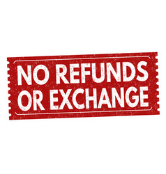 No refunds or exchange grunge rubber stamp vector