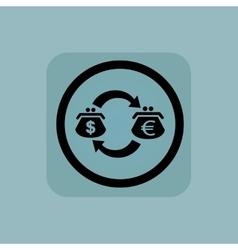 Pale blue dollar-euro exchange sign vector image
