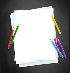 paper and color pencils vector image