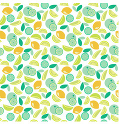pattern with lime lemon and orange slices vector image