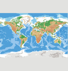 Physical map of earth detailed topographic world vector