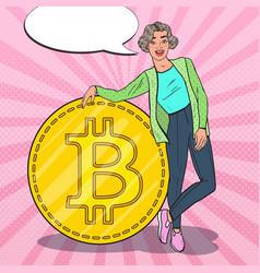 Pop art successful woman with big bitcoin vector