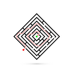 Rectangle maze with way to center logic game vector