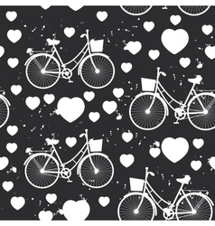 seamless pattern white bike and heart on black vector image