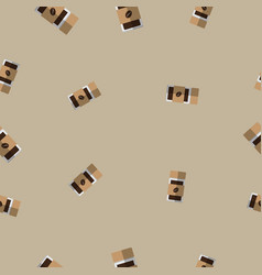 seamless pattern with coffee glass bottle vector image