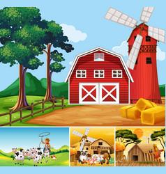 Set different farm scenes with animal farm vector