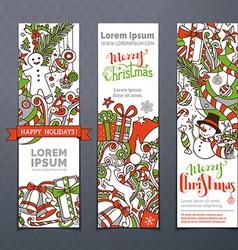Set of hand-drawn Christmas banners vector
