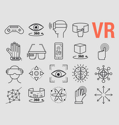 set of line icons - virtual reality vector image
