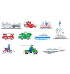 Set of tranportation vehicles vector