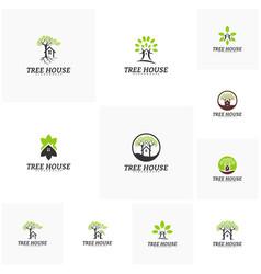 set of tree house logo template leaf house logo vector image