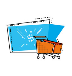 shopping cart with commercial tag vector image