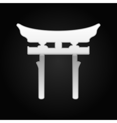 Silver Japan Gate Torii icon on black background vector image