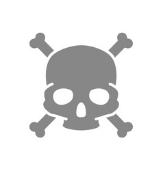 Skull with crossbones grey icon warning death vector