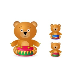 teddy bear with drum icon set vector image