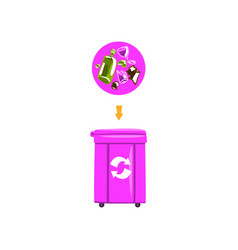 trash garbage can with sorted garbage recycling vector image