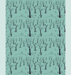 Trees winter christmas landscape background with vector