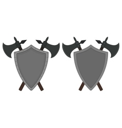 Two crossed axes and steel shield heraldry emblem vector