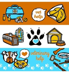 Veterinary Banners Set vector image