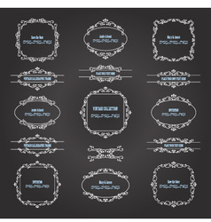 Vintage filigree frames and borders on chalkboard vector image