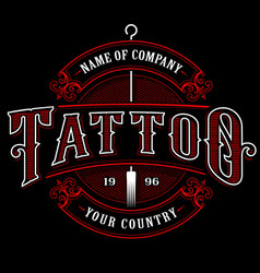 Vintage tattoo studio emblem 4 for dark background vector