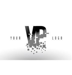 vp v p pixel letter logo with digital shattered vector image