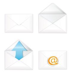 White open closed envelope icon set vector