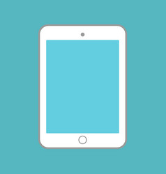 white tablet with blue screen on blue background vector image