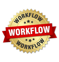 Workflow round isolated gold badge vector