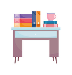 workspace desk with books binders and coffee cup vector image