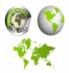 World map globe around the wor vector