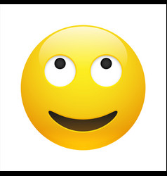 Yellow dreaming emoticon with opened eyes vector