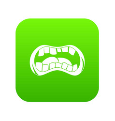 Zombie mouth icon digital green vector