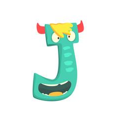 cartoon character monster letter j vector image vector image