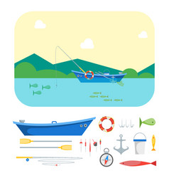cartoon fishing boat on landscape and gear set vector image vector image