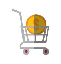 shopping cart online coin dollar color shadow vector image vector image