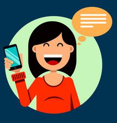 smiling brunette girl holding a smartphone in her vector image vector image